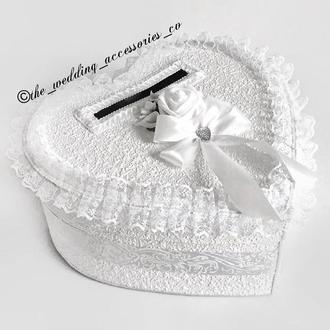 Свадебная шкатулка для конвертов в виде сердца белого цвета💌