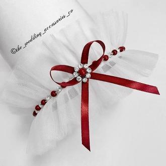 Подвязка для невесты, украшенная жемчужинами и стразами💞👰🏻
