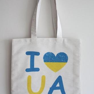 Эко сумка I love UA сине-желтая