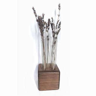 Ваза для квітів. Ваза з колбами. Скляна ваза. Дерев'яна ваза. Подставка для цветов с колбами