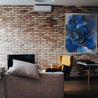 Космическая картина «Синий бес» Интерьерная картина в офис декор абстракция в подарок