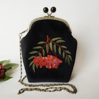 Женская сумка из черного бархата, сумка на фермуаре