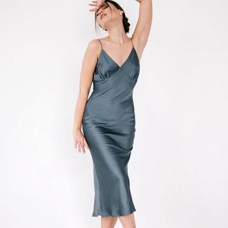 Сатиновое платье-комбинация