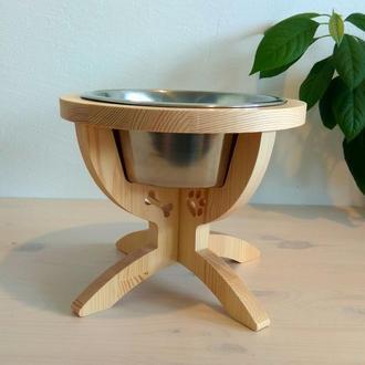 Миска для собак на деревянной подставке ручной работы. Подарок для собачника