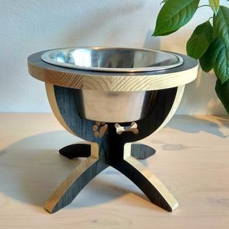 Деревянная подставка с миской для собак ручной работы. Подарок для собачника
