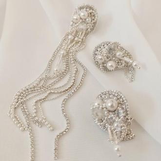Асимметричные серьги из страз белого цвета, жемчужные свадебные серьги, моно серьга 12 см, Сет из тр