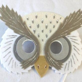 Маска белой совы с фетра