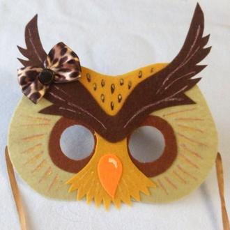 Карнавальная детская маска с фетра Совушка