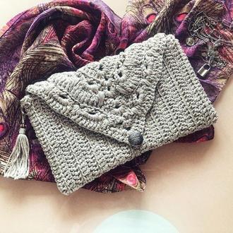 Сумочка клатч вязаный , маленькая сумочка, нарядная сумочка