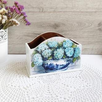 Органайзер, подставка для канцтоваров 'Гортензия и полевые цветы'