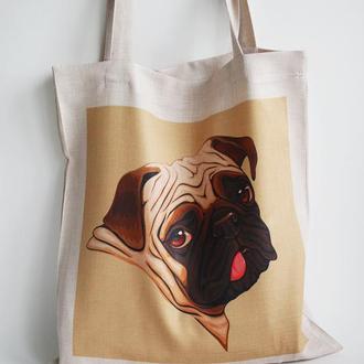 Сумка мопс киев, подарок мопс, экосумки оптом, экосумка собака київ, шоппер мопс, сумка кот