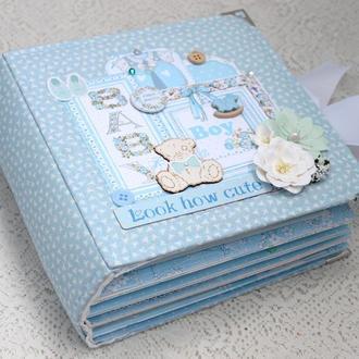 Альбом для новорожденного мальчика , фотоальбом для малыша , скрапальбом