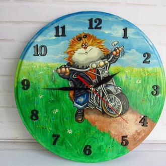 Настенные часы детские Кот мотоциклист