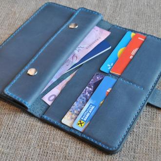 Кожаный кошелек синего цвета  K11-660+light blue