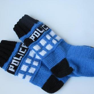 Вязаные носки Будка Тардис