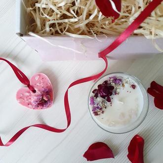 🌹🌹🌹 Набор СВЕЖИЕ РОЗЫ на День Рождения - свеча и саше из соевого воска 🌹🌹🌹