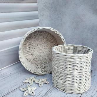 Набор плетеных корзин из эко-лозы для кухни.