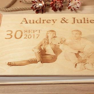 Свадебный фотоальбом, гостевая книга, (Итальянская кожа 4мм + дерево береза 4мм)
