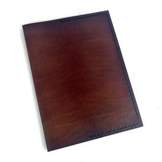 Кожаная мужская/женская обложка на блокнот А6 ручной работы коричневого цвета Tsar.store с ручным швом