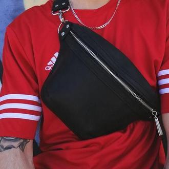 Кожаная сумка бананка/поясная сумка женская ручной работы Tsar.store в цвете марсал черный