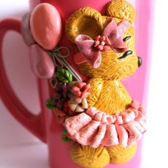 Чашки с декором из полимерной глины
