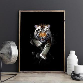 Тигр иллюстрация в авторской технике. Картина на стену. Авторская иллюстрация распечатанная на холст