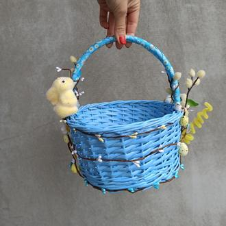 Голубой Детский пасхальная корзинка с зайчиком для мальчиков
