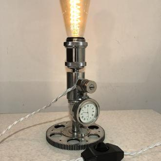 Настільна лампа-годинник в стилі лофт і стімпанк