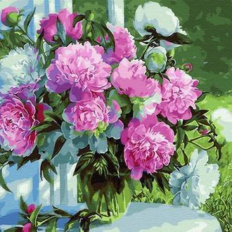 """Картина за номерами """"Букет півоній в саду"""" GX31020"""