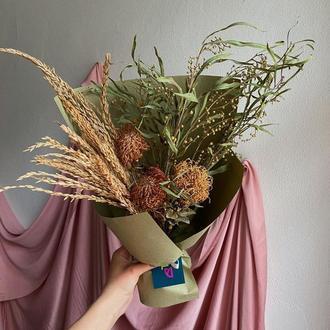Букет из сухоцветов с леукаспермумом