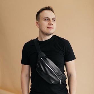 Мужская сумка (Бананка) из кожи, стильная кожаная черная сумка, чоловіча бананка, шкіряна сумка
