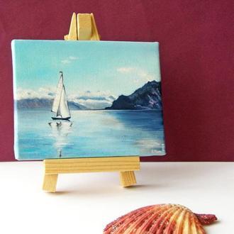 Морський пейзаж олійними фарбами, міні картина на мольберті