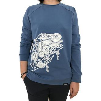 Женский синий свитшот с принтом зайца