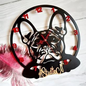 """Часы деревянные """"Французский бульдог"""" с декором 40 см."""