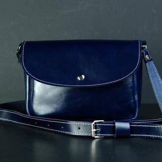 Кожаная сумочка МИЯ, кожа пуллап, цвет синий