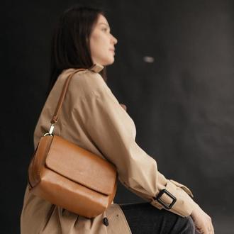 Карамельная кожаная сумка, коричневая сумка из натуральной кожи, женская сумочка