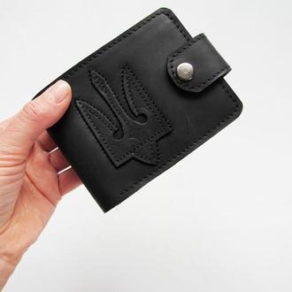 Мужской кожаный кошелек с гербом