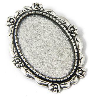 Основа для броши ажурная серебро 3,8х3,0см