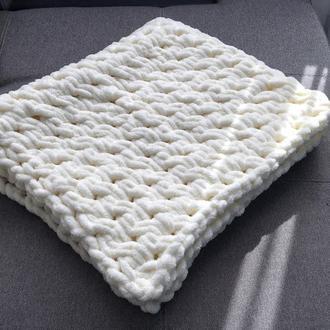 плюшевый детский плед молочного цвета 85/80 конверт на выписку, крестильное одеяльце