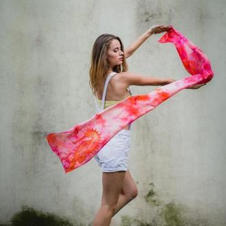 Коралловый шелковый шарф с морским коньком, женский длинный шарф ручной росписи, розовый батик шарф