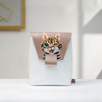 Кожаный рюкзак с ручной росписью
