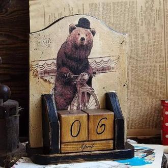 вечный календарь медведь на велосипеде