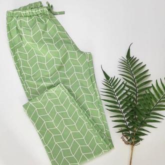 Жіночі штани для дому та сну в зеленому кольорі з натуральної бавовни