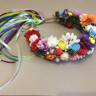 Венок с цветами и лентами,Украинский веночек с цветами,венок с лентами