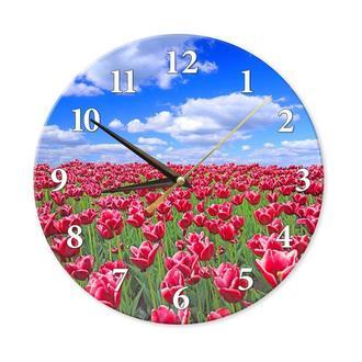 Настенные часы с фотографией на стекле красных тюльпанов на фоне неба. Ультра-фиолетовая печать.