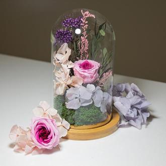 Роза в колбе. Долгоживущие стабилизированные цветы и растения БЕЗ полива.Композиция в стекле