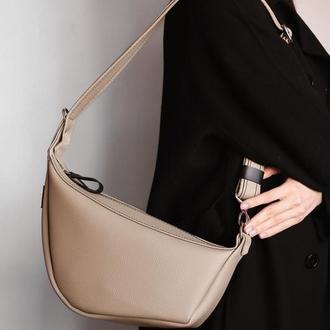 Вместительная сумка . Бежевая сумка из экокожи . Женская сумка кожзам