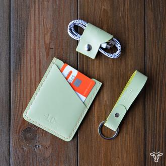 Картхолдер для пластиковых карт из кожи оливкового цвета
