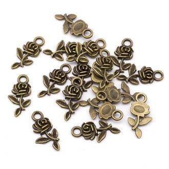 Підвіски Троянди для прикрас бронза, Кулон Троянда, розмір 21х10.5х2.5мм, 1 уп 5 шт