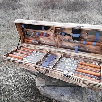 """Набор 8 шампуров для люля-кебаб """"Master""""+ набор из 8 аксессуаров в деревянном кейсе (730х15х3 мм)"""